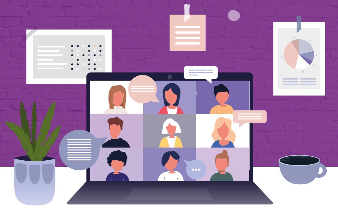 Ilustração representativa do teletrabalho, com notebook com pessoas em videoconferência sobre mesa de trabalho
