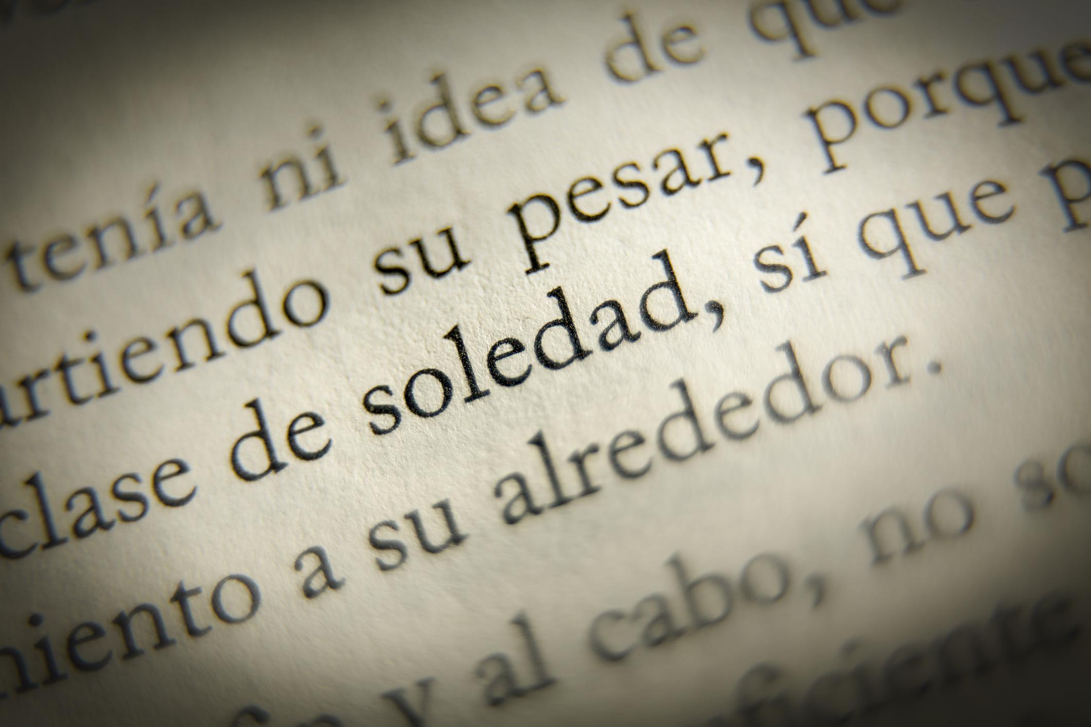 Detalhe ampliado de texto em espanhol