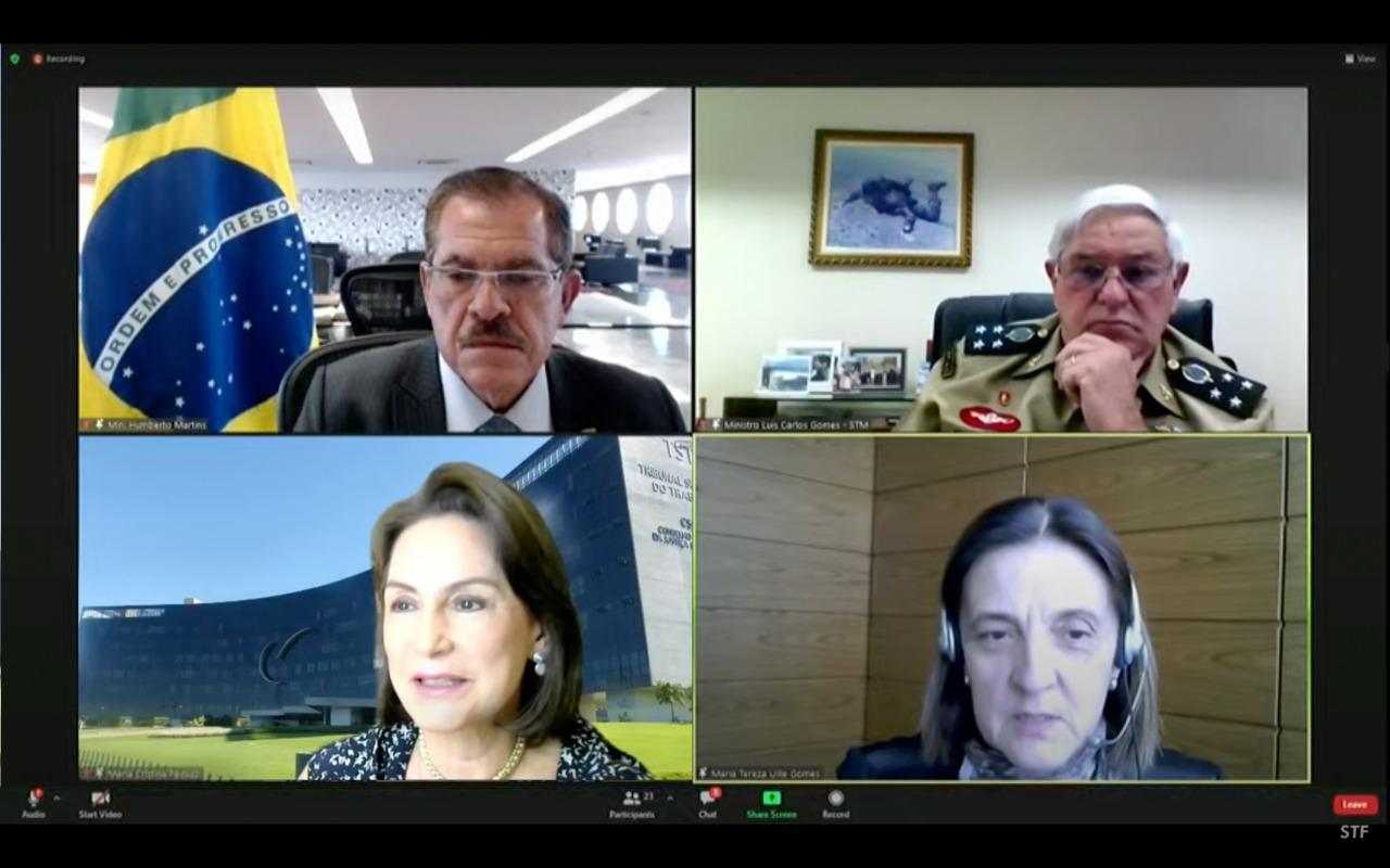 Tela do webinário, com participação da ministra Cristina Peduzzi