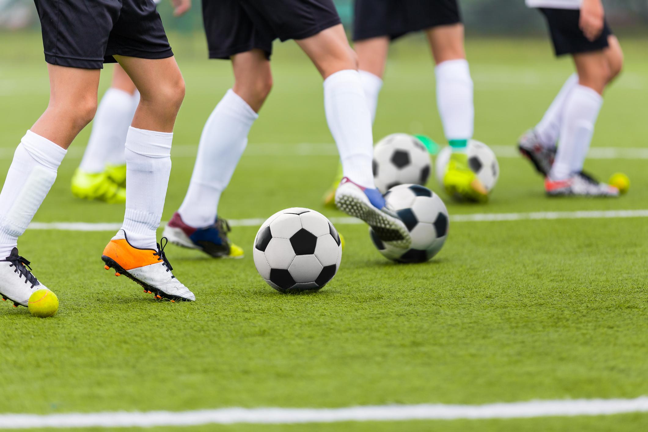 Detalhe de treino de futebol