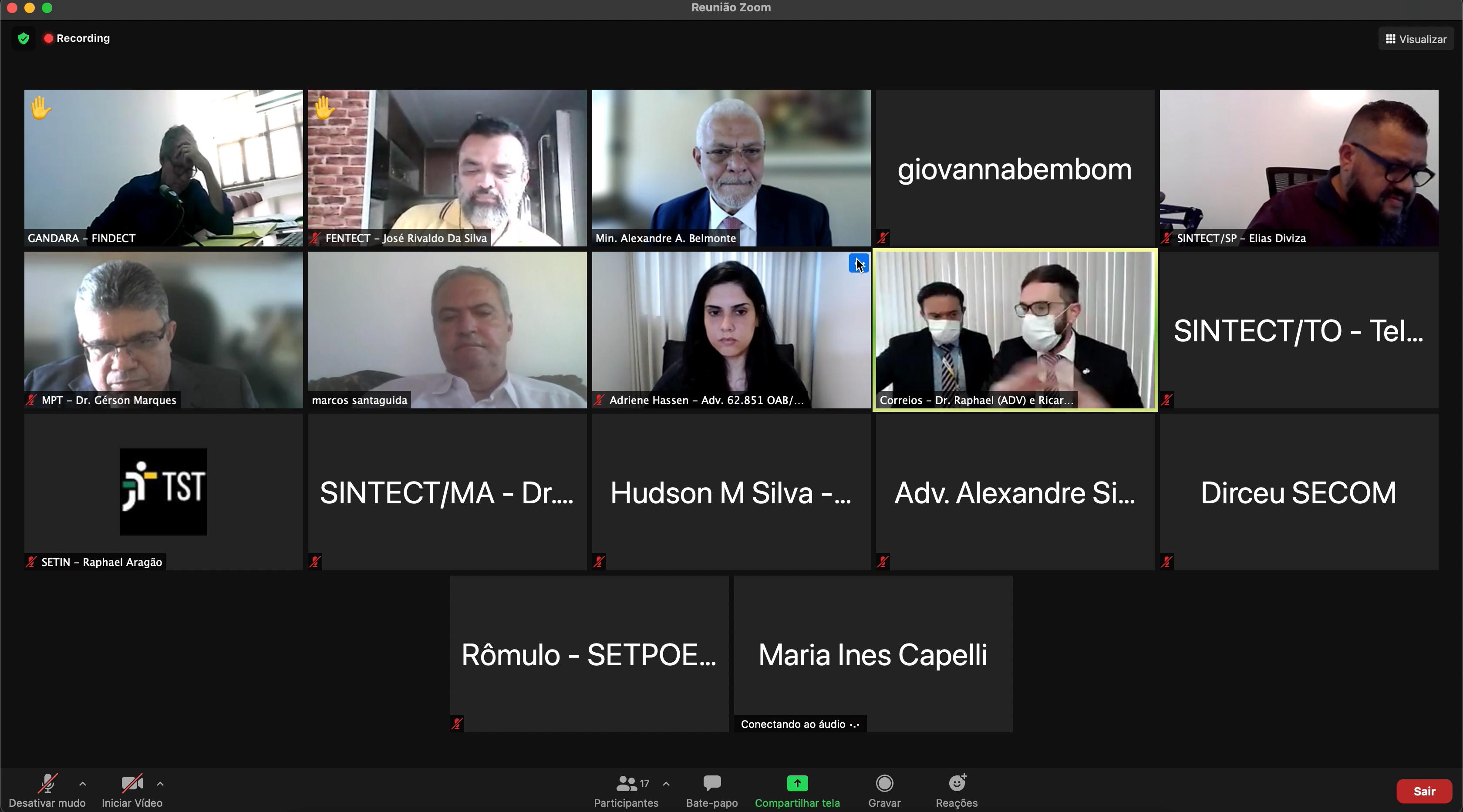 Imagem da tela da audiência de conciliação por videoconferência